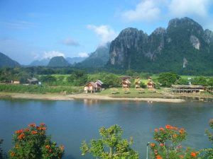 River views and limestone cliffs in Vang Vieng, Laos