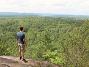 View of Algonquin Park from above a rock