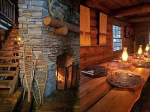 Toasty Log Cabin with fireplace and table