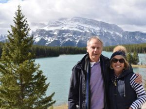 Couple next to lake in Banff National Park