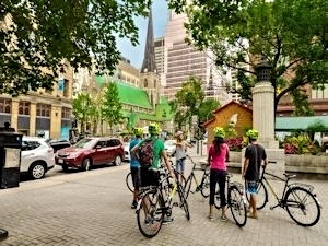 Group of people on bikes having a tour