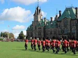 English soldiers marching through Ottawa