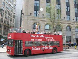 Hop on Hop off red open top bus