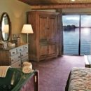 Inside room of hotel with view of the lakes