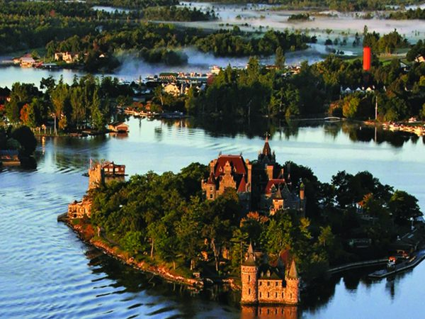Birds eye view of the Thousand Islands and Lake