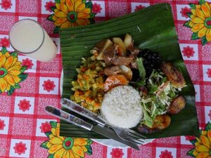 Local Costa Rican dish with rice and vegetables
