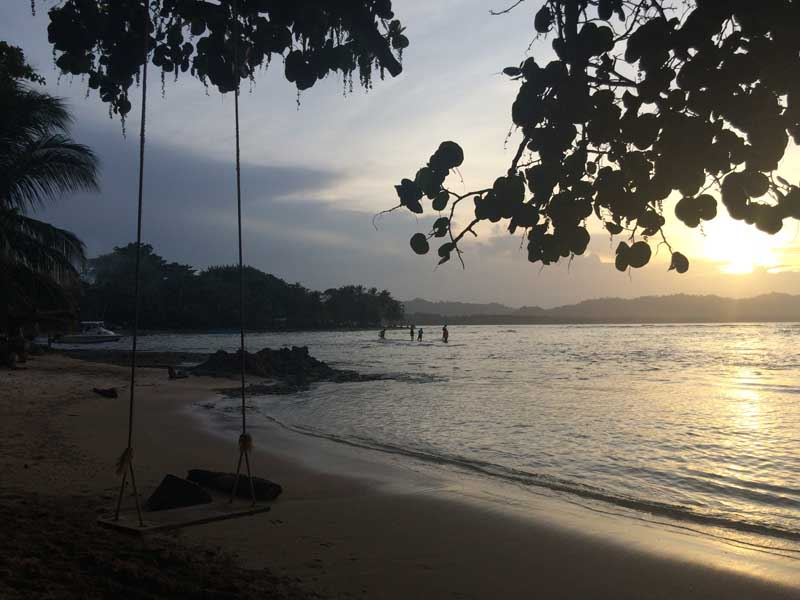 View of the beach at sunset