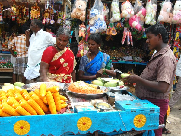 Locals selling food in market India