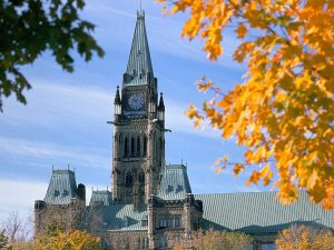 Parliament building with autumn leaves in Ottawa