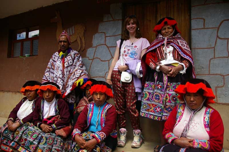 Local people with tourist in Peru