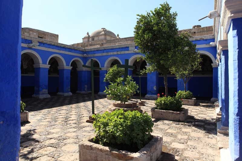 Court yard with blue building