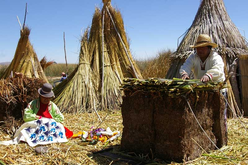 Local people by Lake Titicaca