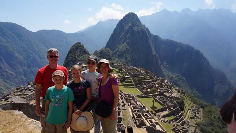 Family in front of Machu Picchu