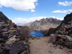 Mountains with blue lake in the middle
