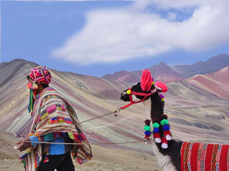 local people trekking rainbow mountain in peru