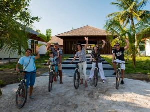 Cycling trip at the Barefott Eco resort in the Maldives