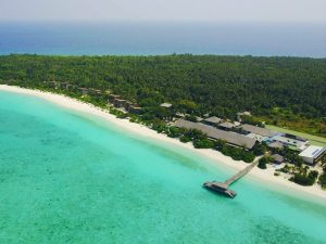 View from the top on Barefoot Eco Resort on Hanimadhoo island, Maldives