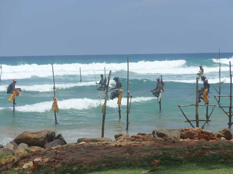 Fishermen in the sea in Mirissa, Sri Lanka