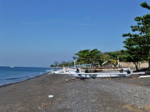 Boats on a beach in Bali., Amed, Indonesia