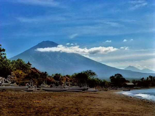 View of the volcano from the beach in Amed