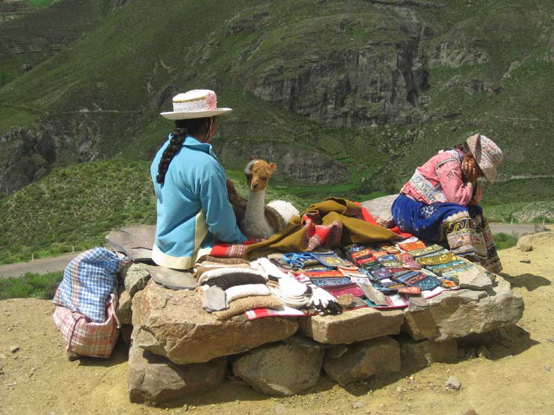 Local people selling arts and crafts