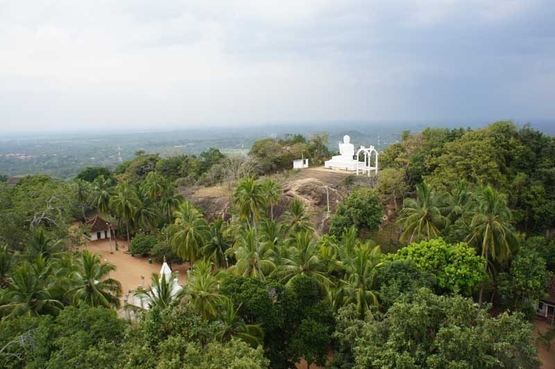sri lanka rural view with white temple
