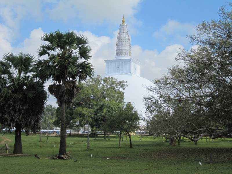 white temple with trees and grass in front