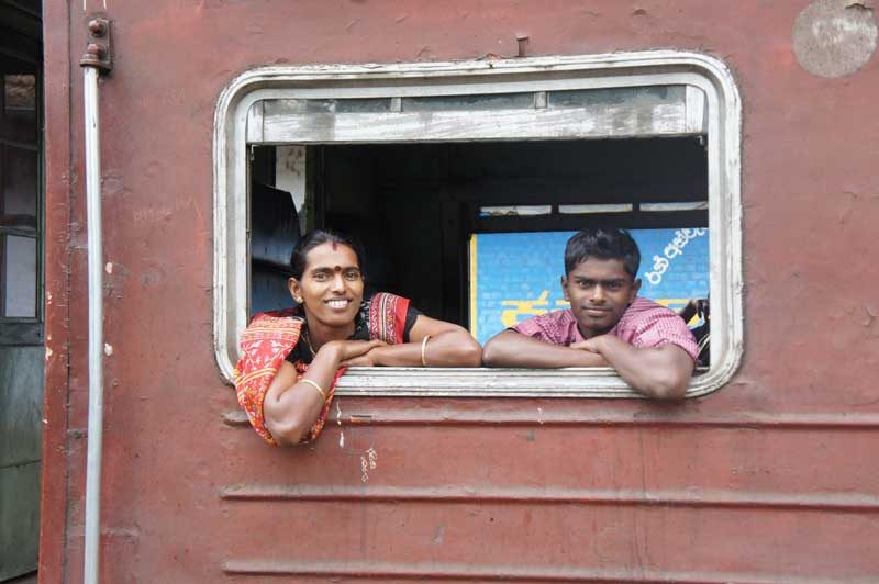 Sri Lanka Ella locals in train window
