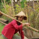 Local woman carrying farm work