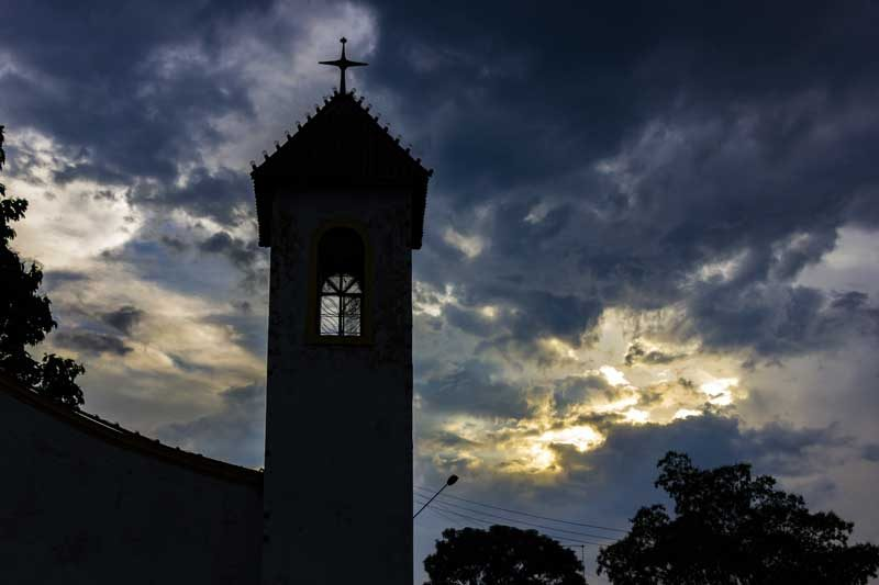 Sunset behind a church in Brazil