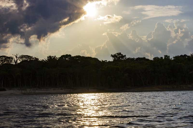 Sunset over the amazon river