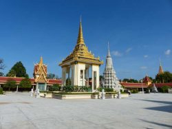 White temple with gold roof