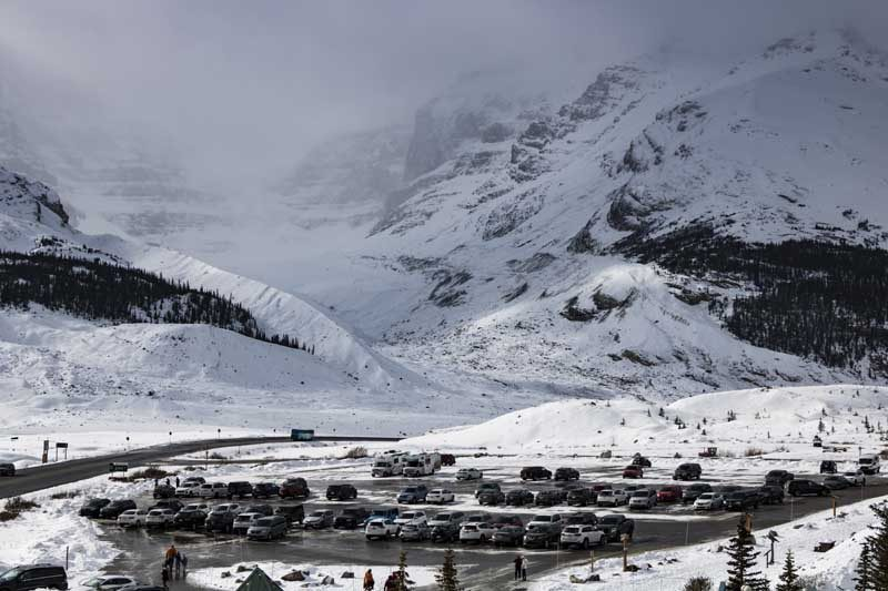 Car park in icy and snowy landscape