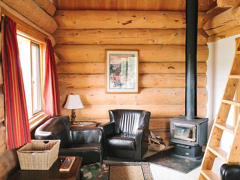 Room in wooden cabin with log burner and chairs
