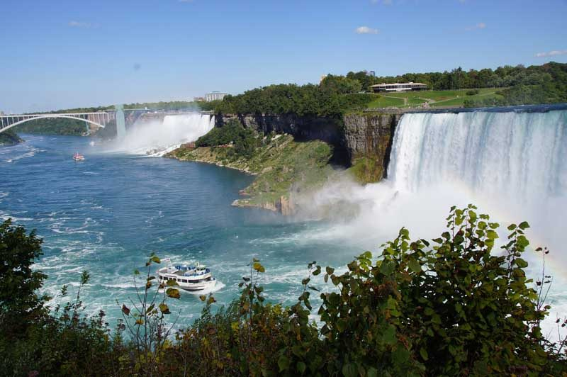 Big waterfalls with boat in water