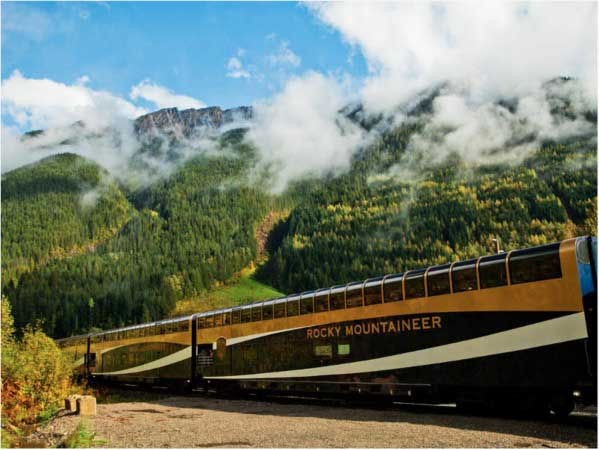 Train with mountains and trees behind