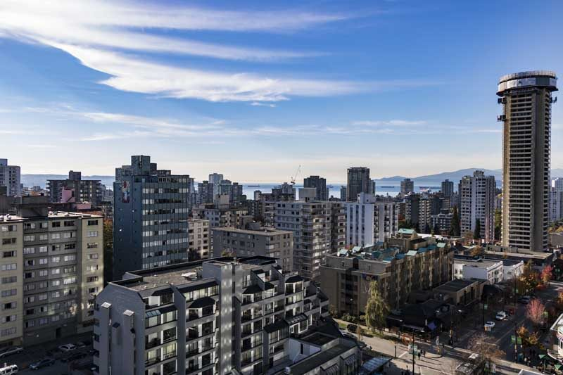 Vancouver city skyline with blue sky