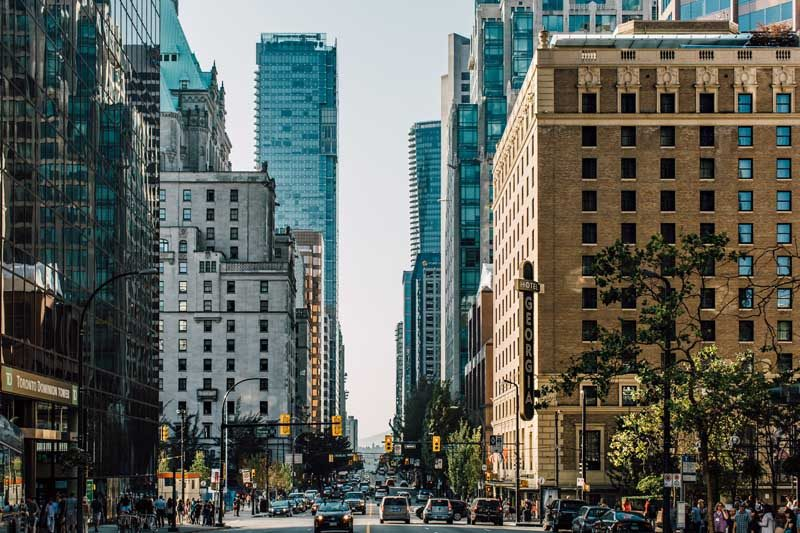 Vancouver city street and high rise buildings
