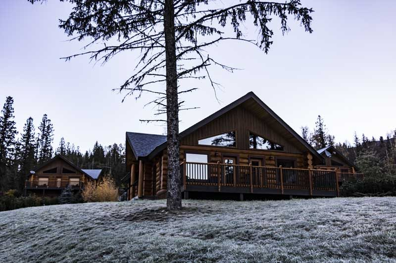 Lodge with snowy scenery
