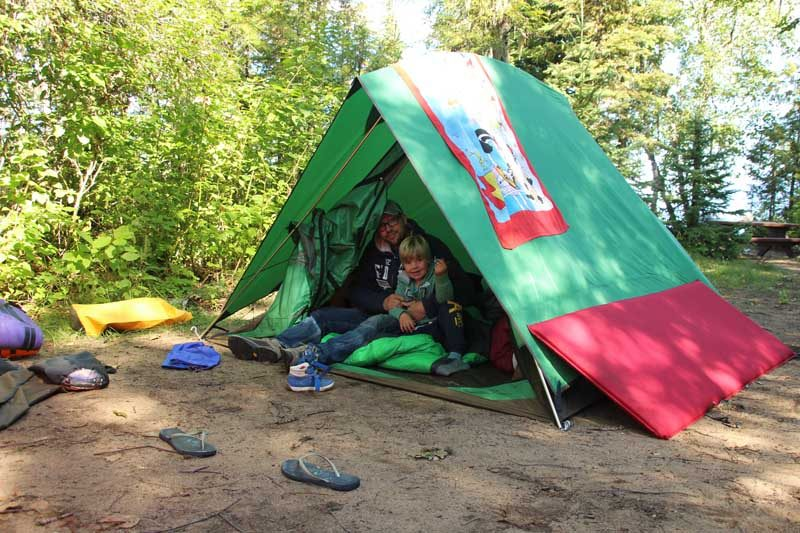 Green and red tent