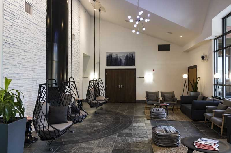 Modern hotel lobby with seats