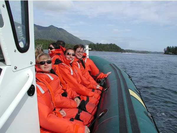 Row of people in lifejackets on boat tour
