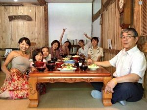 Local japanese family eating food