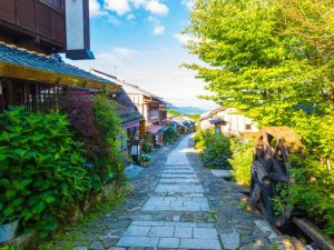 historic Nakasendo road looking in Magome Town