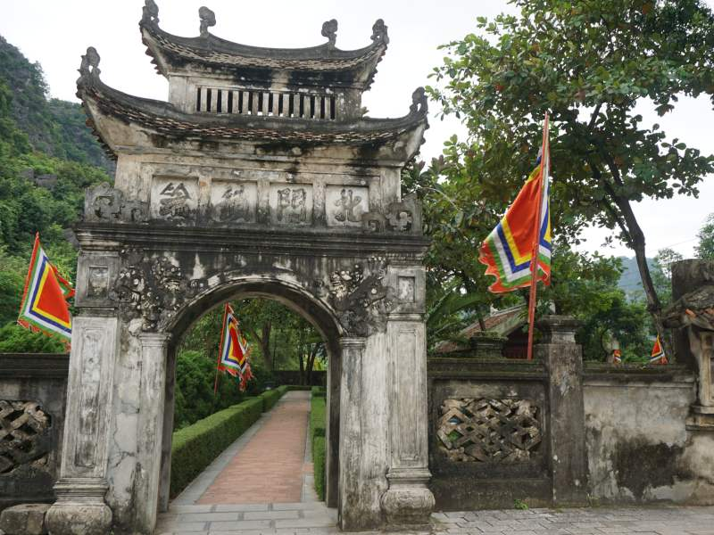 Temple with flags at either side