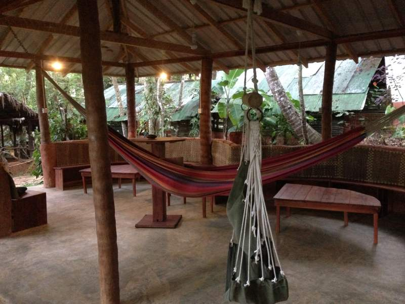 Hut with hammock hanging