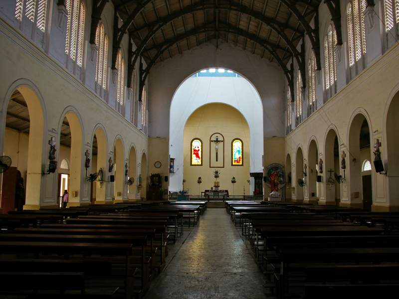 inside of large white church