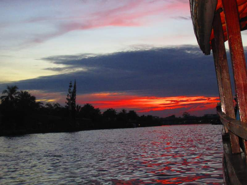 Sunset view from boat over lake