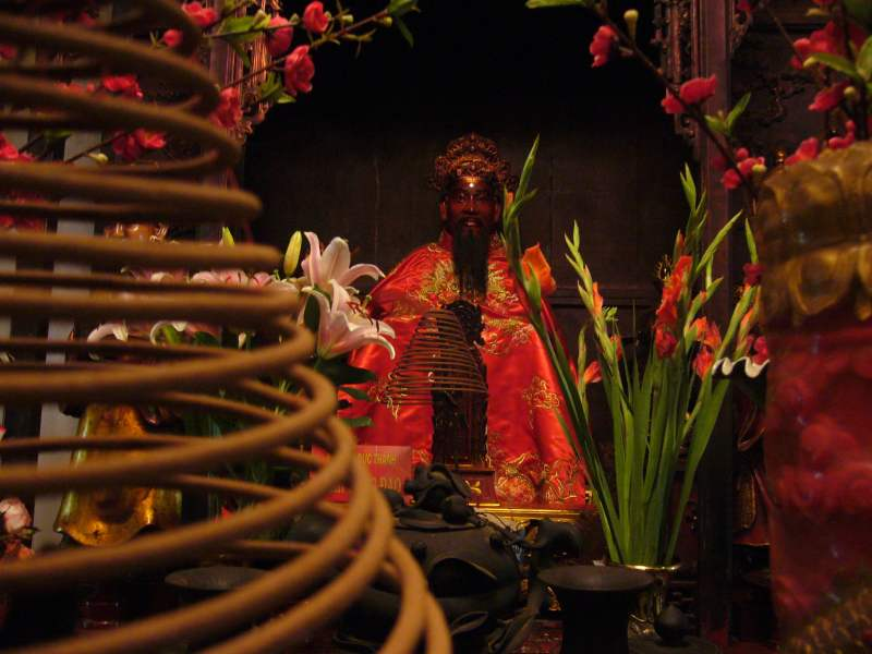 Statue in red temple