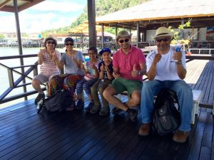 A family at the pier in Sandakan
